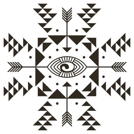 birds eye view: Stylized ornamental eye. Tribal style. Tattoo element