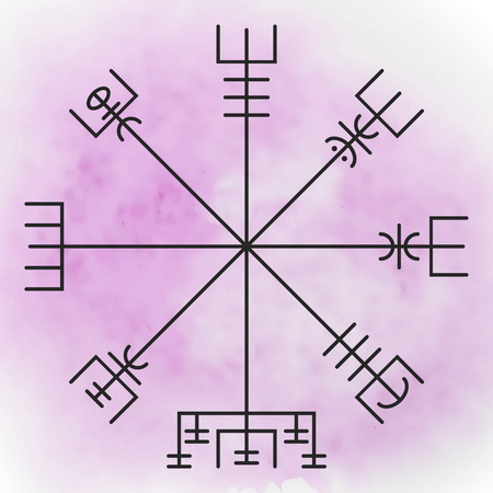 Vegvisir - the Magic Navigation Compass of Vikings. Runescript from Ancient Medieval Icelandic Manuscript Book. Talisman for luck road and good voyage.