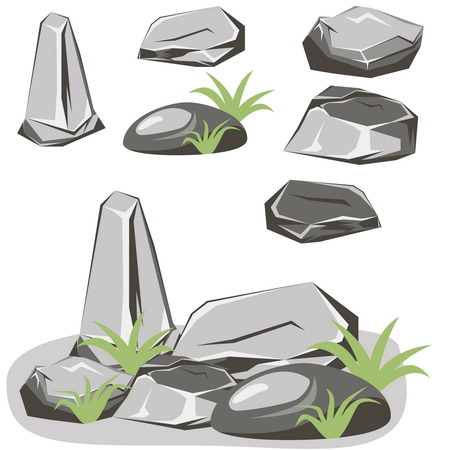 natural stone: Rock stone set. Stones and rocks in isometric 3d flat style