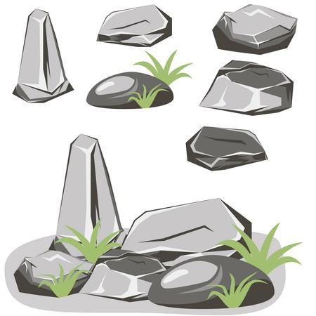 Rots steen te stellen. Stenen en rotsen in isometrische 3D vlakke stijl