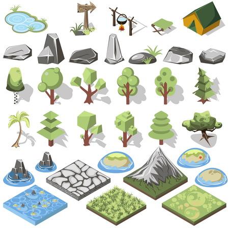 조경 디자인을위한 아이소 메트릭 3d 숲 캠핑 요소입니다. 텐트 및 캠프, 나무, 바위. 섬. 벡터 일러스트 레이 션