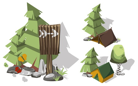 brich: Isometric 3d camping elements for landscape design. Tent and spruce, pointer and brich, butterflies and stone. Vector illustration