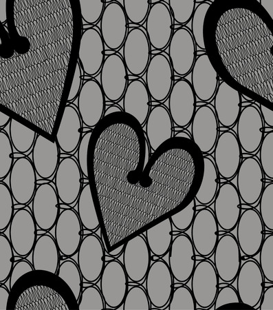 nuptial: Heart lace seamless pattern on brown background. Valentines day Illustration
