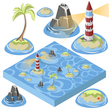 light house: Isometric 3d sea elements for design. Light house and island, palm tree, rock. Vector illustration