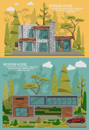 family in front of house: Modern house in forest. Flat design vector concept illustration.