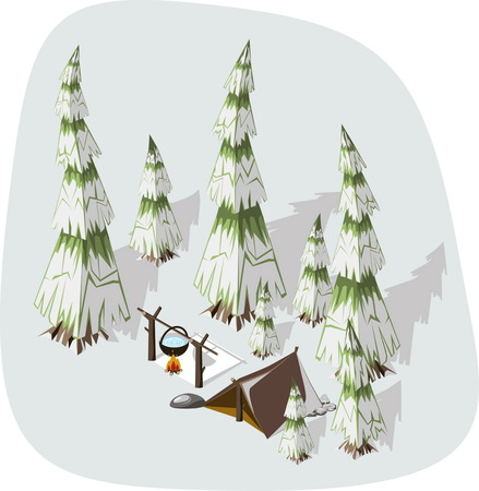 extremal: Extremal winter hiking - brown tent and fire on a snowy fir. Isometric Vector adventure illustration. Illustration