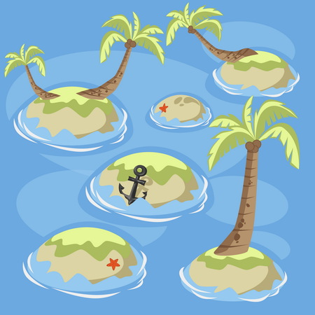 sea green: Collection of Isometric sea green islands whith palm trees for design. Green island Vector illustration