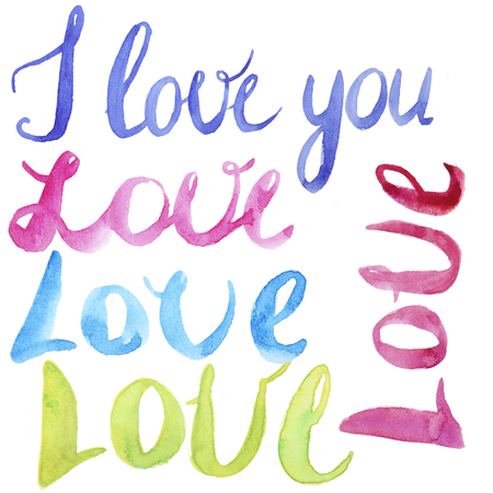 cursive: Hand Painted Watercolor Love Calligraphy Script isolated on  white Background. Love Note. Love set.  Cursive Love Script. Watercolor Lettering. Love Lettering. Stock Photo