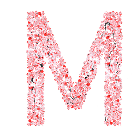 letter m: Watercolor hand drawn Sakura Flower Alphabet. Monogram Letter M Made of Sakura Flowers
