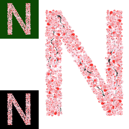letter n: Watercolor hand drawn Sakura Flower Alphabet. Monogram Letter N Made of Sakura Flowers