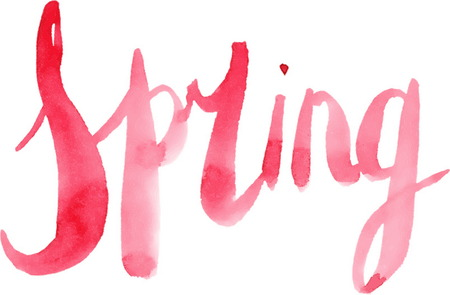 cursive: Hand Painted Watercolor Spring Calligraphy Script isolated on  white Background. Spring Note. Cursive Spring Script. Watercolor Lettering. Spring Lettering.