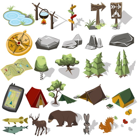 Isometric 3d forest hiking elements for landscape design. Tent and camp, tree, rock, wild animals. Navagation equpment. Vector illustration