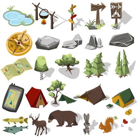 los elementos 3d isométricos de senderismo forestal para el diseño del paisaje. Tienda de campaña y acampar, árboles, rocas, animales salvajes. Equpment navagation. ilustración vectorial