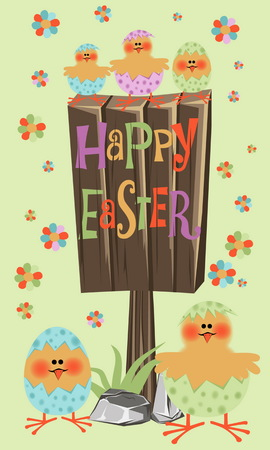 greating card: Easter Greating card decorated with chick and lettering on old wooden billboard  Happy Easter.