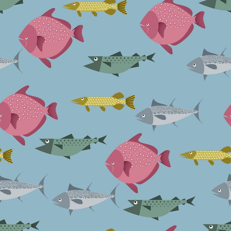 flounder: Seamless pattern with river and sea fishes - pike, tuna, flounder and salmon