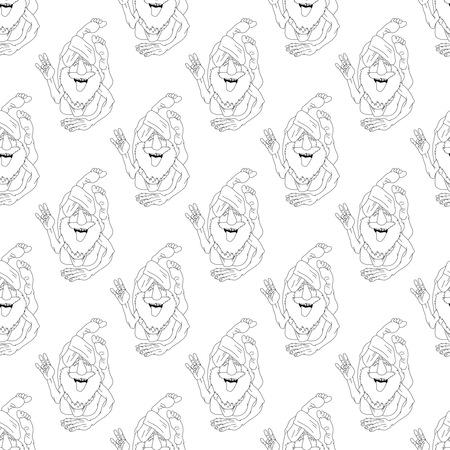 yogi: yoga seamless pattern illustration. Monochrome Funny Yogi in Astana as pattern for seamless backdrop. Design for yoga studio, fitness center, class, magazine, presentation