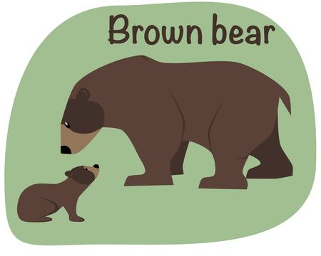paw paw: Grizzly bear whith child. Vector illustration. Two bear on green background. Illustration