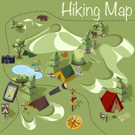 Isometric 3d map whith camping elements for landscape design. Tent and spruce, pointer and brich, butterflies and stone. Wildness place whith wild animal, bear and deer, rabbit and sqwirrl.