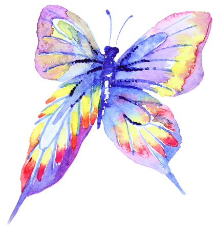butterfly in hand: Abstract Watercolor hand drawn purple butterfly. Hand painted watercolor butterfly in Hires.  Perfect for wedding invitations, greeting cards, quotes, blogs, posters Stock Photo