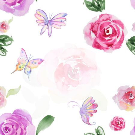 retro flowers: Seamless watercolor pattern with blossom flower and butterfly. Vintage seamless pattern with flower and butterfly. Watercolor paint. Feathers pattern for wallpaper design. Watercolor seamless background.