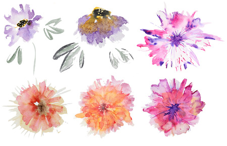 Collection of abstract watercolor flowers. Set of watercolor flowers on white background. Perfect for wedding invitations, greeting cards, quotes, blogs, posters and DIY.