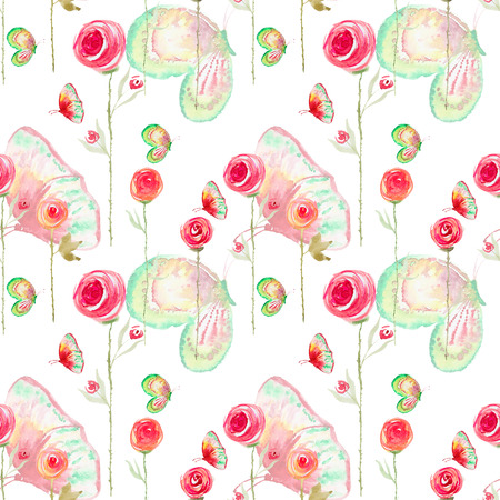 rose garden: Seamless watercolor pattern with blossom flower and butterfly. Vintage seamless pattern with flower and butterfly. Watercolor paint. Feathers pattern for wallpaper design. Watercolor seamless background.