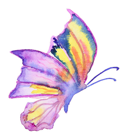 Abstract Watercolor hand drawn purple butterfly. Hand painted watercolor butterfly in Hires. Perfect for wedding invitations, greeting cards, quotes, blogs, posters