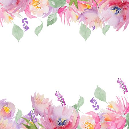 水彩グリーティング カード、招待状。花の水彩画の背景を使用してテキストのフレーム。水彩カード招待状、誕生日や結婚式に最適。 写真素材