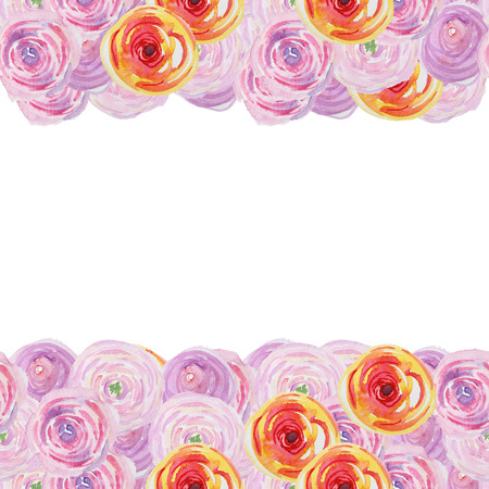 abstract rose: Watercolor Greeting card, invitation. Frame for your text with floral watercolor background. Watercolor card perfect for invitation, birthday and wedding.