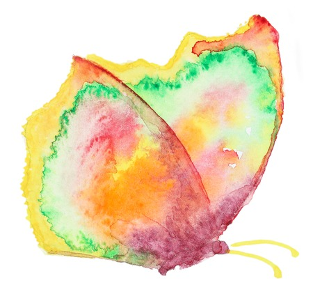 butterfly in hand: Abstract Watercolor hand drawn colorfyl butterfly. Hand painted watercolor butterfly in Hires.  Perfect for wedding invitations, greeting cards, quotes, blogs, posters