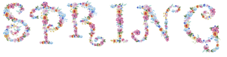 floral alphabet: Spring floral hand drawn lettering. Watercolor Sale typography text design element. Hand lettering spring. Spring lettering made with watercolor flowers and branch - floral alphabet. Stock Photo