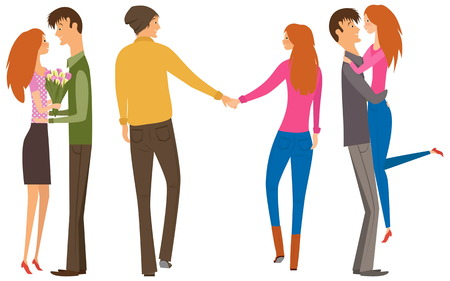 long hair boy: Character couple set with flat design style. Couple of lovers collection, young men and young women set. Redhead women and brunet man. Happy couple collection.