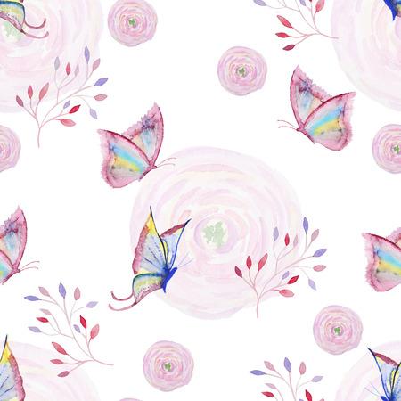 蝶、花と枝とのシームレスな水彩パターン。蝶、花と枝を持つヴィンテージのシームレスなパターン。水彩絵の具。壁紙デザインの水彩画のパター