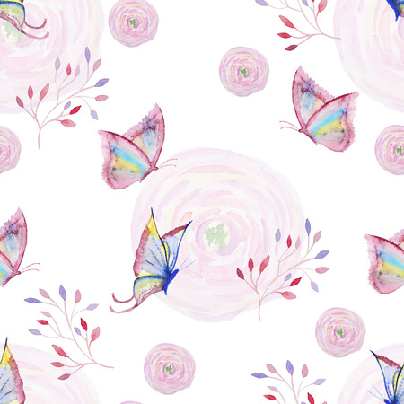 Seamless watercolor pattern with butterfly, flower and branch. Vintage seamless pattern with butterfly, flower and branch. Watercolor paint. Watercolor pattern for wallpaper design. Watercolor seamless background. Archivio Fotografico