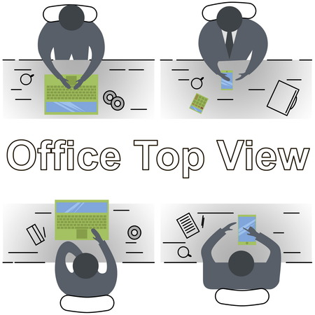 overhead view: Line design modern illustration concept of office workplace. Top view.  Office abstract line design.