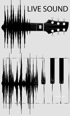 fretboard: Sound wave transformation in keyboard of piano and fretboard guitar. Sound wave evolution. Born of Sound Wave. Concept background.
