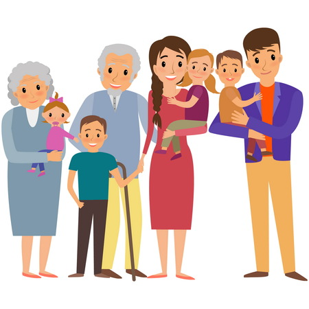 mom and daughter: Big Family portrait. Happy family whith fore childrens and grandparents Illustration