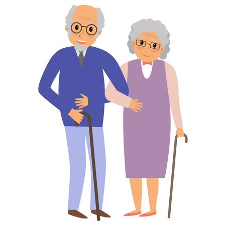 happy mature couple: Happy grandparents couple holding hands. Happy grandparents day card. illustration in cartoon style