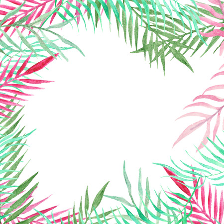 tropical tree: Watercolor palm tree leaves background template. Watercolor tropical greeting card. Stock Photo