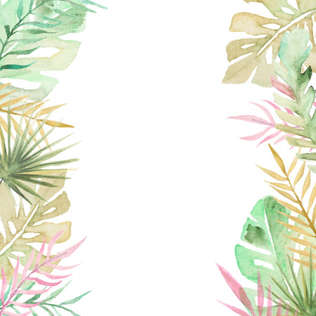 Watercolor palm tree leaves background template. Watercolor tropical greeting card. Banco de Imagens