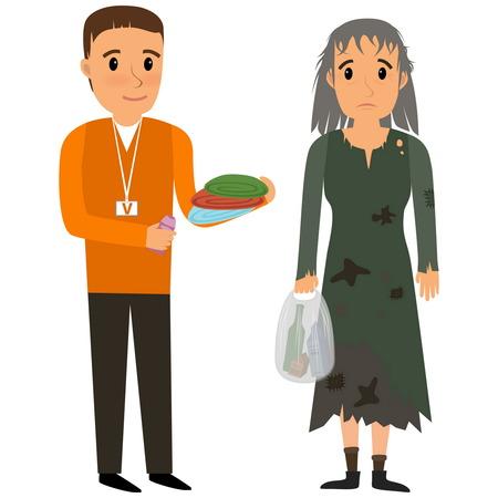 Volunteer and homeless. Volunteers helping homeless. flat cartoon illustration