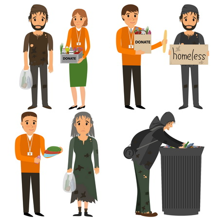 needy: Volunteer and homeless. Volunteers design concept set with people helping homeless. flat cartoon illustration
