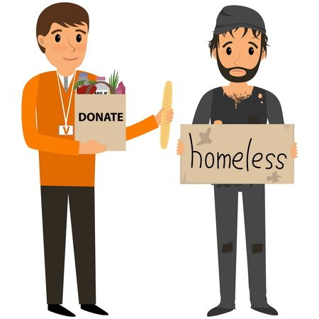 Freiwillige und obdachlos. Freiwillige helfen obdachlos. flache Karikatur Illustration