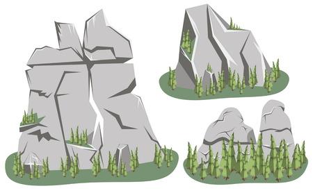 rock stone: Isometric Mountain landscape. Cartoon rocks in isometric 3d flat style. Set of different mounting rocks Illustration