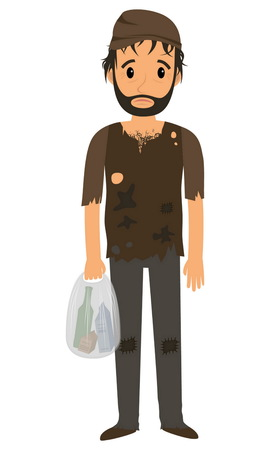 misery: Homeless man in dirty old clothes whith bag in hand.  flat cartoon illustration Illustration