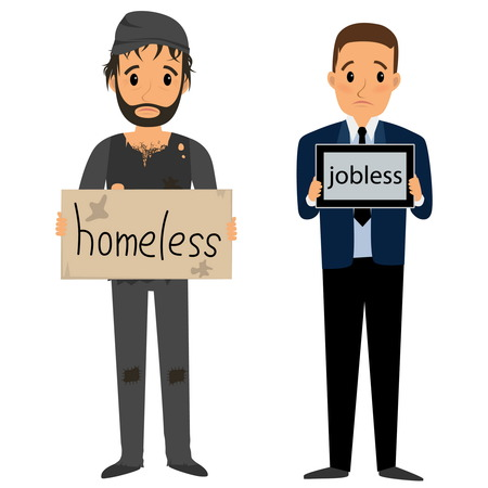 jobless: Homeless man in dirty old clothes whith bag in hand and Jobless man in suit whith tablet. Vector flat cartoon illustration