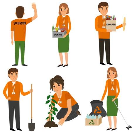 poor people: Volunteer People plant trees, remove debris and help the poor. Vector flat cartoon illustration