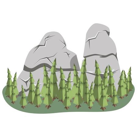 rock stone: Isometric Mountain landscape. Cartoon rocks in isometric 3d flat style.
