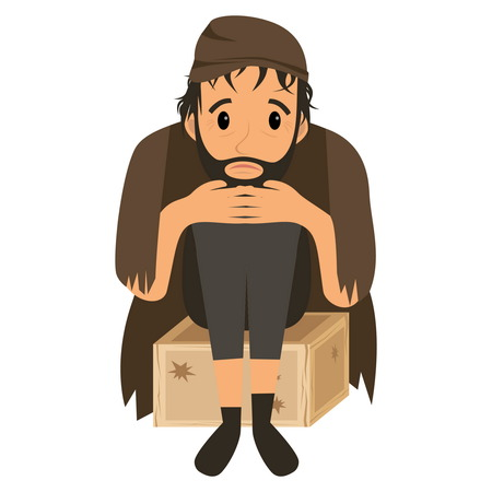 Homeless man in dirty old clothes on wooden box . Vector flat cartoon illustration