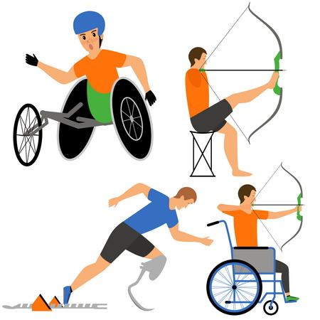 sprinter: Disabled People in sport competition. Archers and sprinter, byking man. Vector flat cartoon illustration